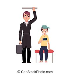 Businessman holding briefcase in subway, standing and...