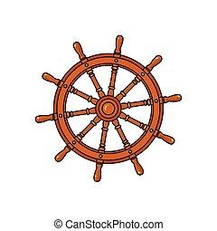 Cartoon ship, sailboat steering wheel - Ship, sailboat...