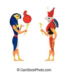 Horus and Ra, gods of ancient Egypt religion, flat cartoon...