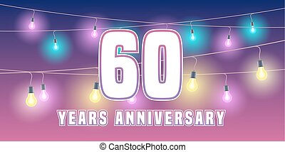 60 years anniversary vector icon, banner. Graphic design...