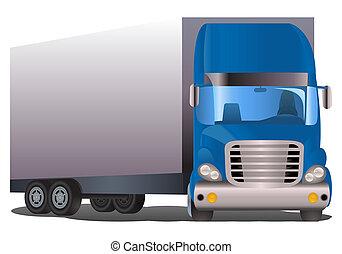 semi trailer truck - illustration of a semi trailer blue...