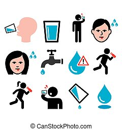 Thirsty man, dry mouth, thirst, people drinking water icons...