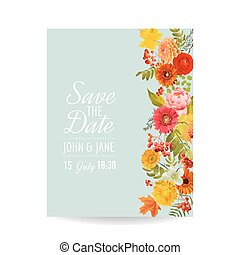Floral Wedding Invitation Card with Autumn Flowers, Leaves...