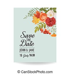 Floral Wedding Invitation Card Template with Autumn Flowers,...