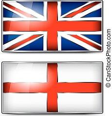 British Union Jack and England Enamel Flag