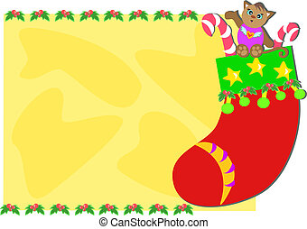 Christmas Frame with Stocking Cat - Here is a cute Christmas...