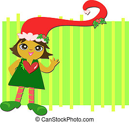 Christmas Santa Girl with Heart