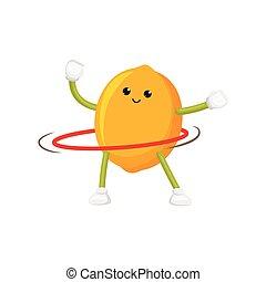 vector flat lemon character, hula hoop exercise - vector...