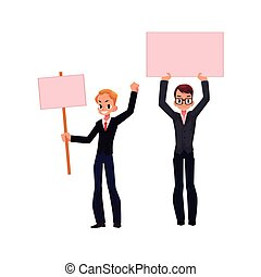 Vector office worker with empty pink banner set - Vector...