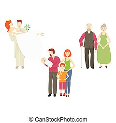 vector flat couples characters set isolated - vector flat...