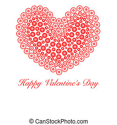 Happy Valentines Day Heart with Flower Circles