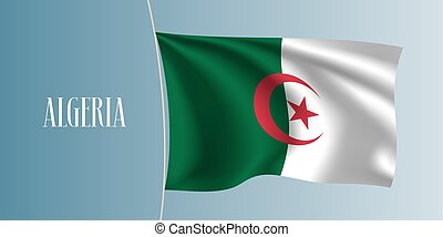 Algeria waving flag vector illustration. Two colors flag as...