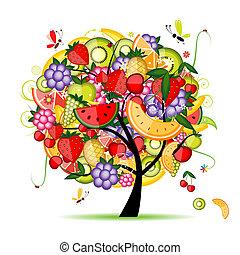 energia, fruta, árvore, seu, desenho