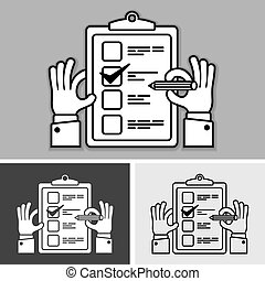 Checklist with checkmark on and pencil in hand grey. Vector...