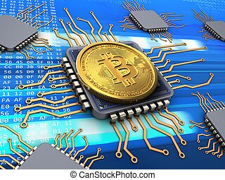 3d bitcoin with processors - 3d illustration of bitcoin over...