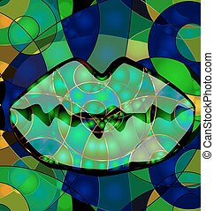 abstract colored green lips - abstract colored background...