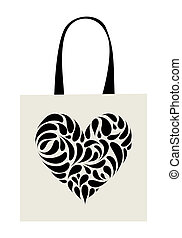 Shopping bag design, heart shape ornament