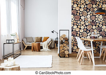 Apartment with wooden log wallpaper - Wooden log texture...