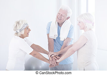 Happy active elderly friends