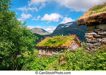 The grass-roofed houses in Norway - Typical norwegian old...