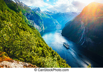 Breathtaking view of Sunnylvsfjorden fjord and famous Seven...