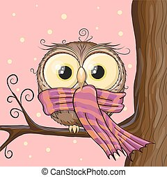 Owl on a brunch - Cute Owl with scarf on a brunch