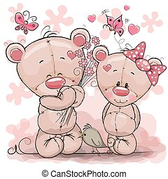 Two Cute Cartoon Teddy Bears - Greeting card Teddy boy gives...