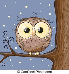 Owl on a brunch - Cute Owl on a brunch on a stars background