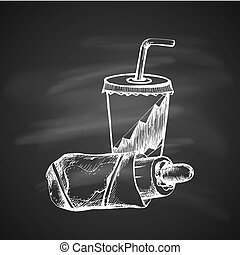 Sketch of Food - Hand Drawn Chalk Sketch on Blackboard of...