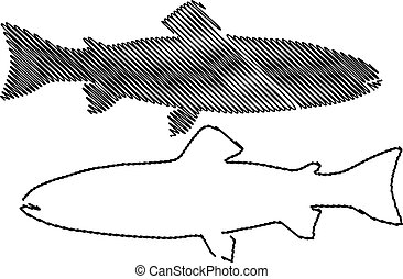 Trout silhouette vector, (Salmo trutta fario), (Oncorhynchus...
