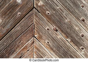 Wooden door background texture close-up