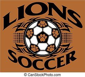 lions soccer - tribal lions soccer team design with paw...