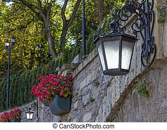 Street lamp - Beautiful antique street lamp on the wall