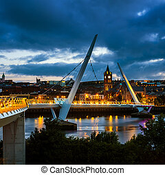 Peace bridge in Derry Londonderry in Northern Ireland with...