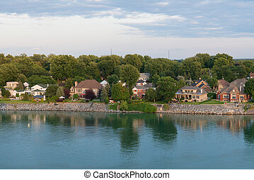 Homes along the St. Lawrence River, Pointe-Marie, Quebec,...