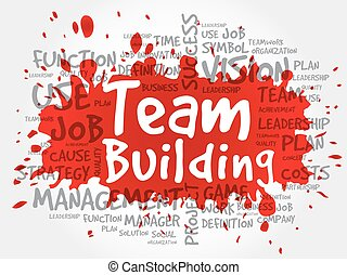 TEAM BUILDING word cloud collage, business concept...