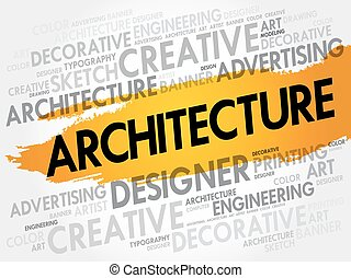 Architecture word cloud, creative business concept...
