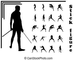 Set of stick figures in flat design . Samurai