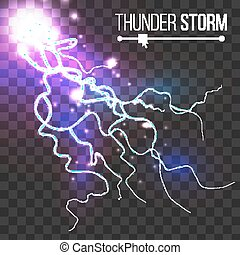 Realistic Lightning Strike Vector. Blue Flash. Isolated On Transparent Background. Electricity Effect Illustration