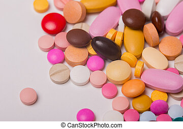 meds - different Tablets pills capsule heap mix therapy...