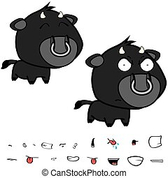 funny little big head black bull expressions set1 - funny...