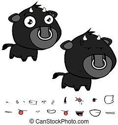 funny little big head black bull expressions set2 - funny...