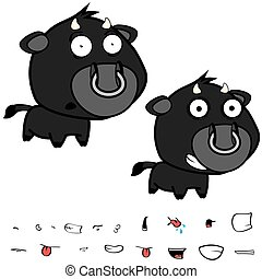 funny little big head black bull expressions set3 - funny...