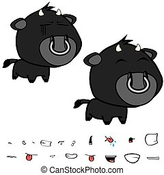 funny little big head black bull expressions set5 - funny...