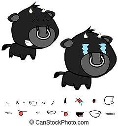 funny little big head black bull expressions set7 - funny...