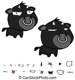 funny little big head black bull expressions set11 - funny...