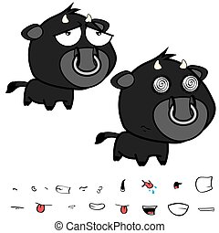 funny little big head black bull expressions set12 - funny...