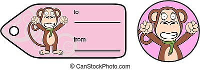 funny monkey chimp expression cartoon giftcard8 - funny...