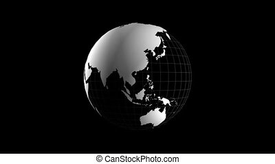 Black and White Spinning Globe