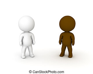 3D illustration of black and white small people. Image...